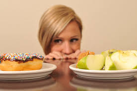 donut vs apple and woman
