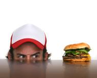 hungry man and burger